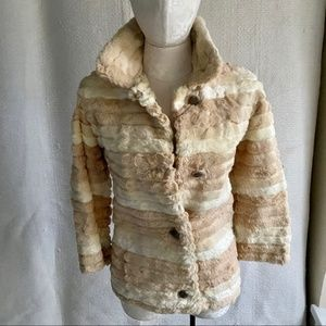 Vintage 50s 60s XS Rabbit Fur Striped Coat Jacket